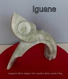 sculpture abstraite en stéatite de couleur ivoire nommée `iguane`